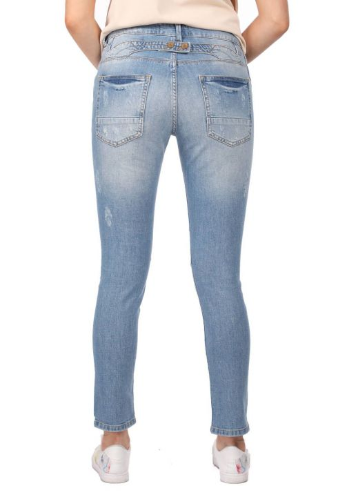 Blue White Düğmeli Yırtık Kadın Jean Pantolon