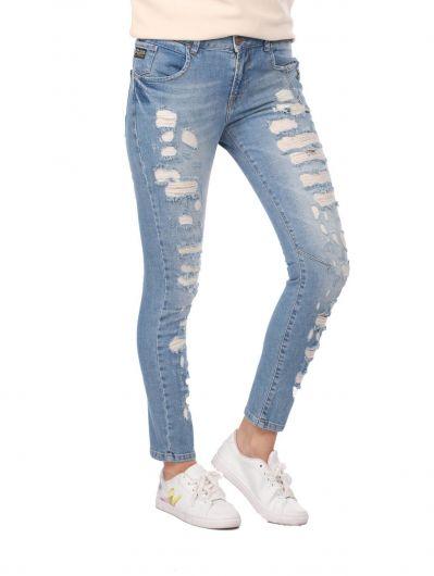 BLUE WHITE - Blue White Düğmeli Yırtık Kadın Kot Pantolon (1)