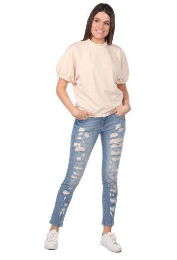 Blue White Düğmeli Yırtık Kadın Kot Pantolon - Thumbnail