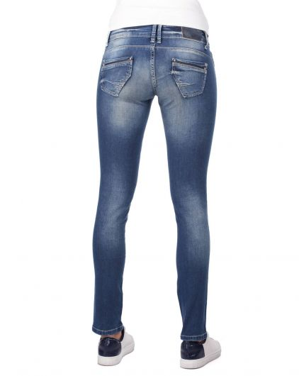 Blue White Şeritli Kadın Jean Pantolon - Thumbnail