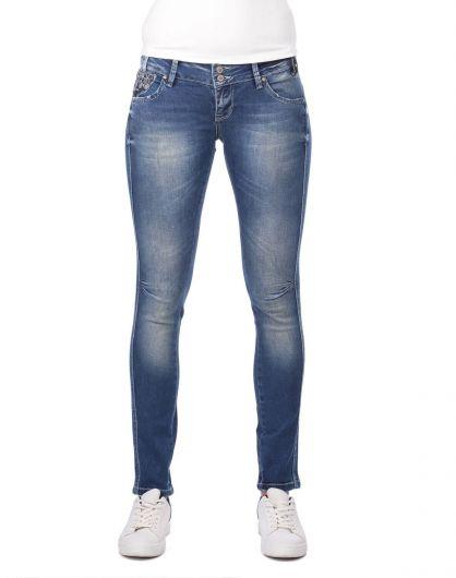 Blue White Şeritli Kadın Kot Pantolon - Thumbnail