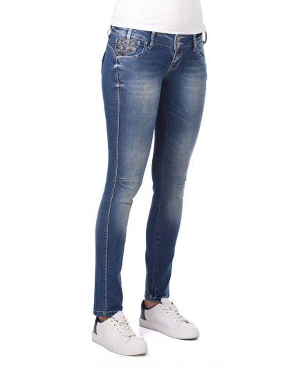 BLUE WHITE - Blue White Şeritli Kadın Kot Pantolon (1)