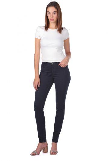 Blue White Yüksek Bel Kadın Jean Pantolon - Thumbnail