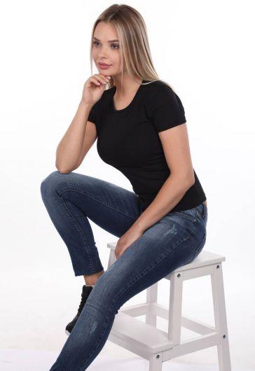 Blue White Regular Fıt Kadın Kot Pantolon - Thumbnail