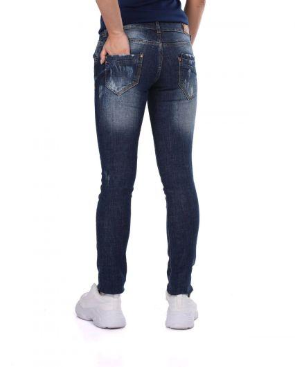 Blue White Yırtık Desenli Kadın Kot Pantolon - Thumbnail
