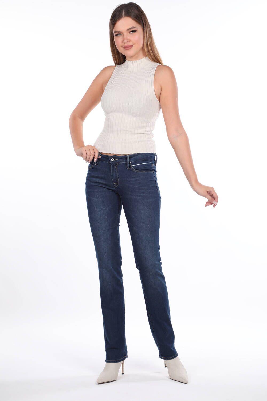 Blue White Düşük Bel Cep Detaylı Kadın Jean Pantolon