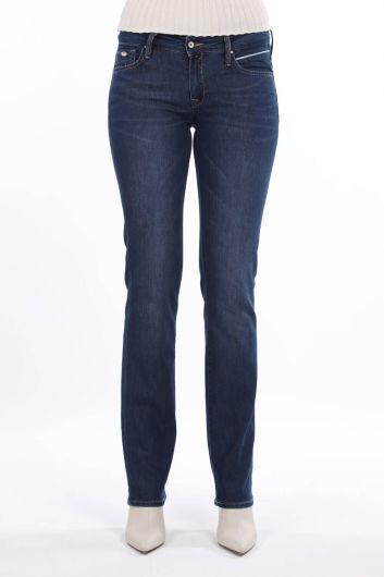 Blue White Düşük Bel Cep Detaylı Kadın Jean Pantolon - Thumbnail
