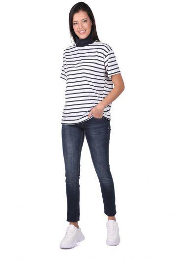 Blue White Düşük Bel Kadın Jean Pantolon - Thumbnail