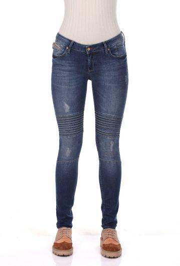 Blue White Dikiş Detaylı Kadın Jean Pantolon - Thumbnail