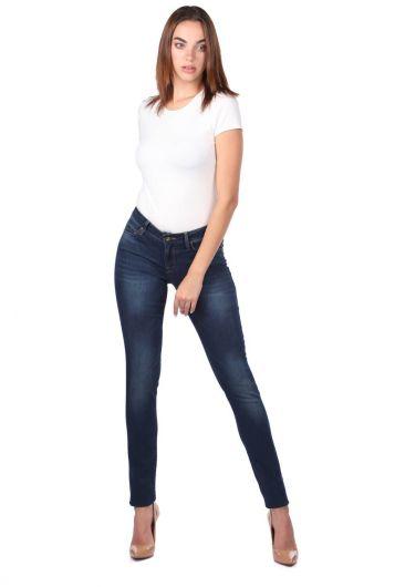 Kadın Koyu Regular Fit Jean Pantolon - Thumbnail