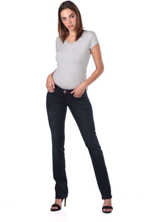 Blue White Kadın Arka Cep Detaylı Jean Pantolon