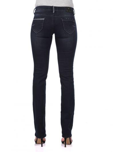 Blue White Kadın Arka Cep Detaylı Kot Pantolon - Thumbnail