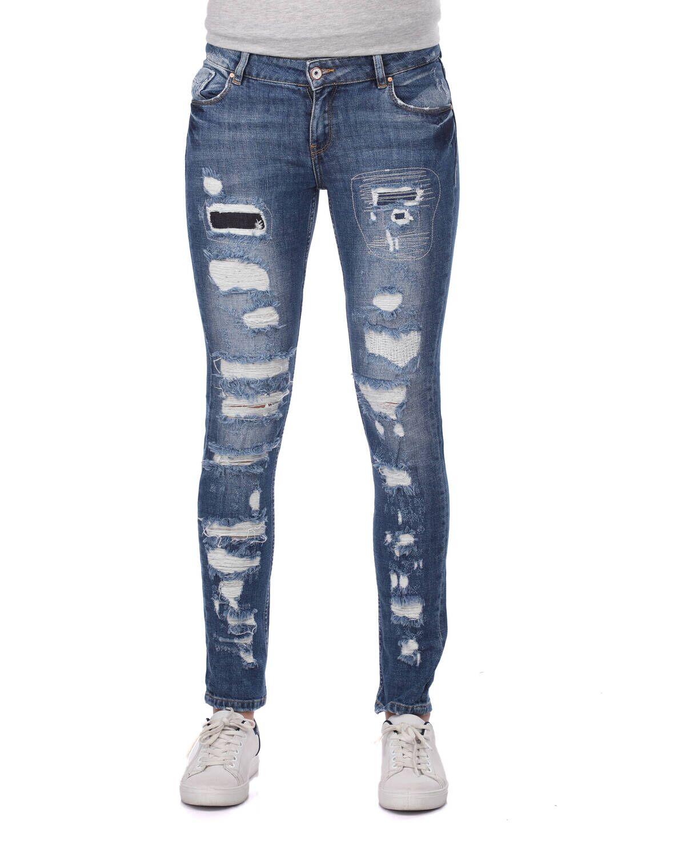Blue White Yırtık Regular Fıt Kadın Kot Pantolon