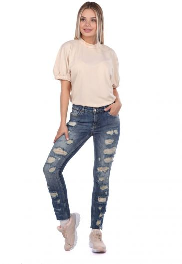 Blue White Yırtık Detaylı Kadın Kot Pantolon - Thumbnail