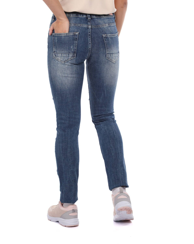 Blue White Yırtık Detaylı Kadın Kot Pantolon