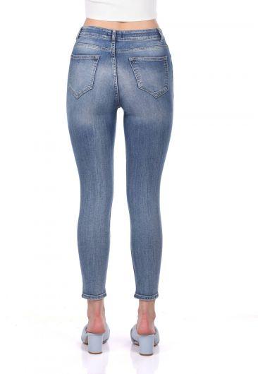 Blue White Kadın Paça Yırtık Kot Pantolon - Thumbnail
