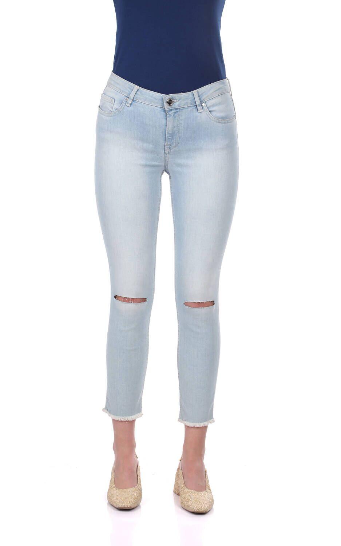 Blue White Kadın Diz Yırtık Kot Pantolon