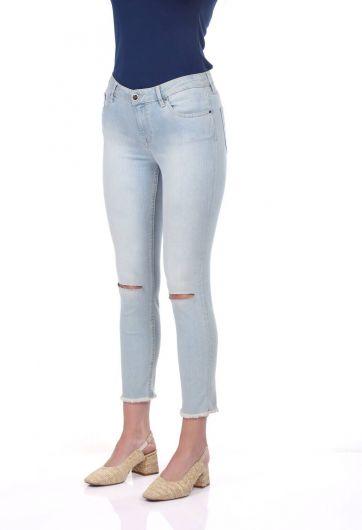 Blue White Kadın Diz Yırtık Kot Pantolon - Thumbnail