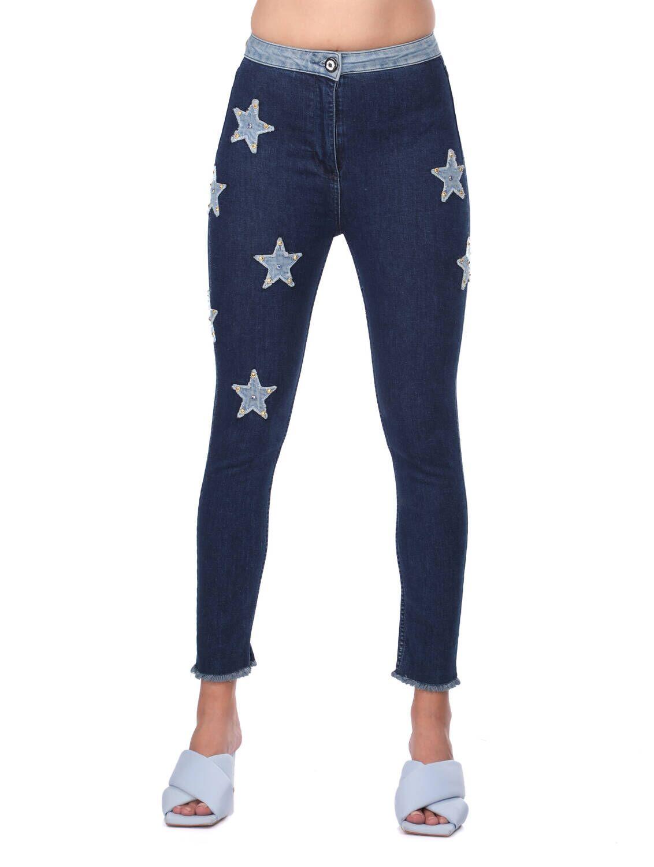 Blue White Kadın Yıldız Detaylı Jean Pantolon