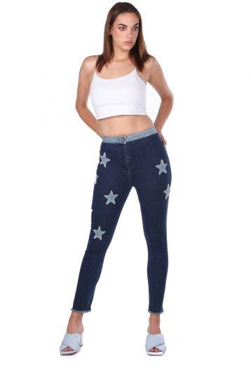 Blue White Kadın Yıldız Detaylı Jean Pantolon - Thumbnail