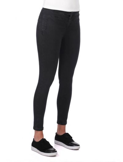 BLUE WHITE - Blue White Kadın Skinny Siyah Jean Pantolon (1)