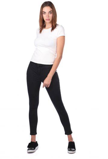 Blue White Kadın Skinny Siyah Jean Pantolon - Thumbnail