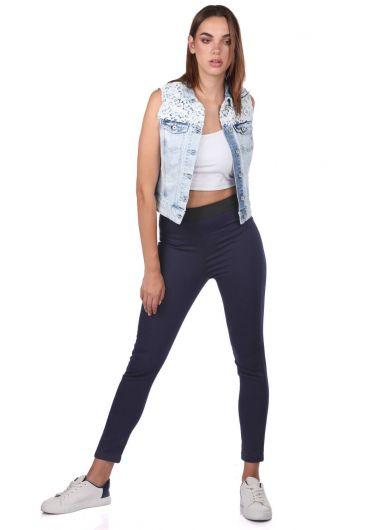 Blue White Kadın Lacivert Tayt Jean Pantolon - Thumbnail