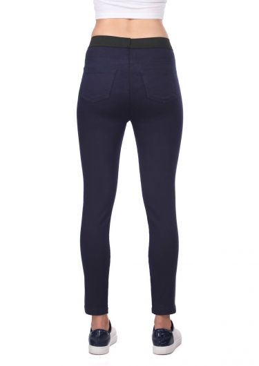Blue White Kadın Lacivert Tayt Kot Pantolon - Thumbnail