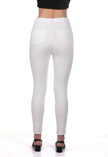 Blue White Kadın Beyaz Kot Pantolon - Thumbnail