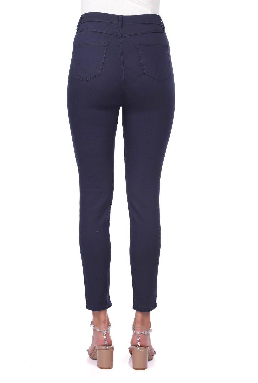 Blue White Kadın Lacivert Yüksek Bel Jean Pantolon