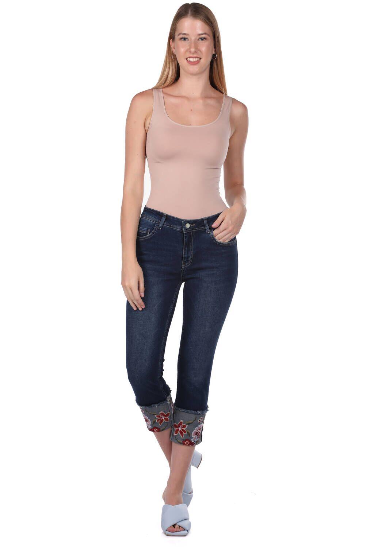 Blue White Kadın Paçası Çiçekli Kot Pantolon