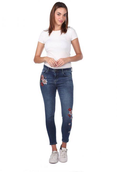 Blue White Kadın Çiçekli Jean Pantolon