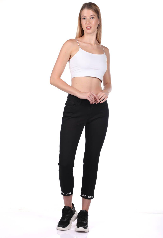 Blue White Paça Detaylı Siyah Jean Pantolon