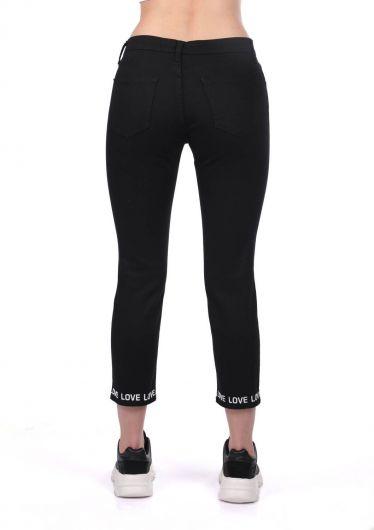 Blue White Paça Detaylı Siyah Jean Pantolon - Thumbnail