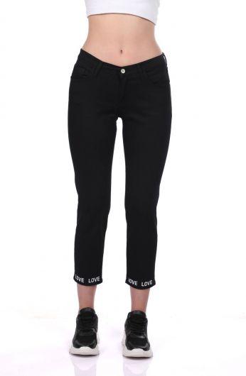 Blue White Paça Detaylı Siyah Kot Pantolon - Thumbnail