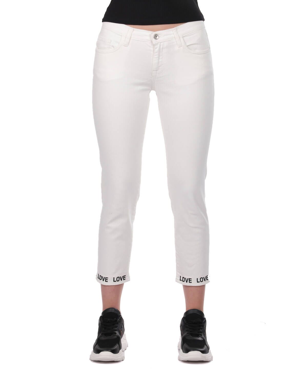 Blue White Paça Detaylı Kadın Beyaz Jean Pantolon