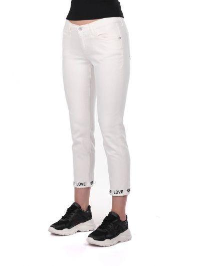 BLUE WHITE - Blue White Paça Detaylı Kadın Beyaz Jean Pantolon (1)
