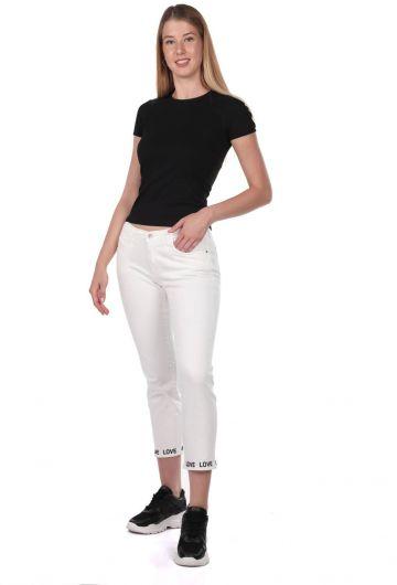 Blue White Paça Detaylı Kadın Beyaz Jean Pantolon - Thumbnail