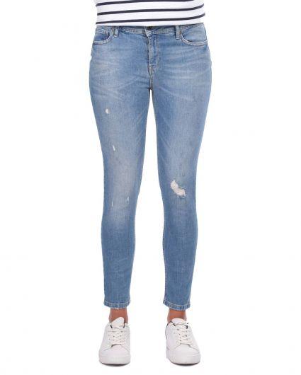 Blue White Kadın Paça Fermuarlı Jean Pantolon - Thumbnail