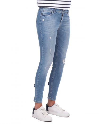 BLUE WHITE - Blue White Kadın Paça Fermuarlı Kot Pantolon (1)