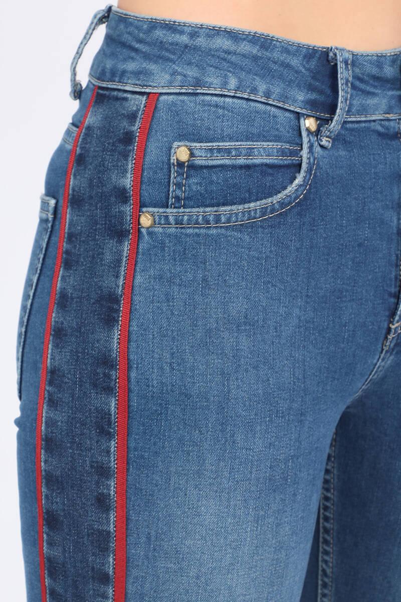 Blue White Kadın Şeritli Jean Pantolon