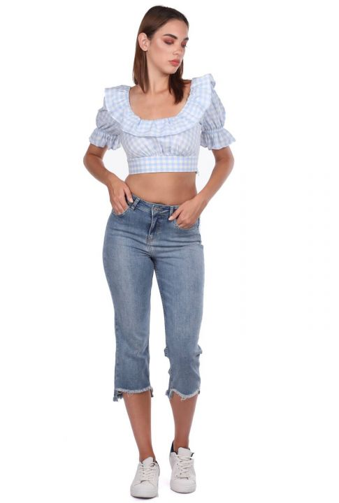 Blue White Kadın Kesik Paça Jean Pantolon