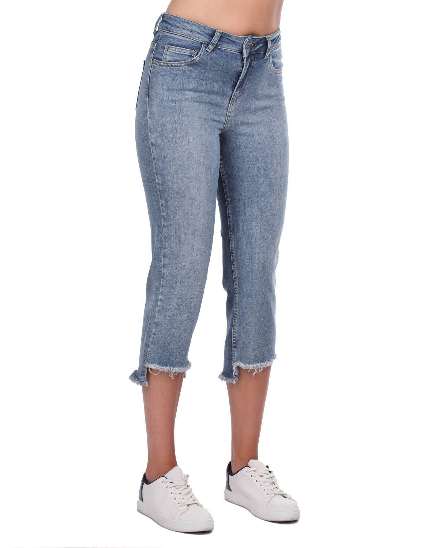 Blue White Kadın Kesik Paça Kot Pantolon