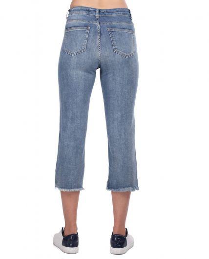 Blue White Kadın Kesik Paça Kot Pantolon - Thumbnail