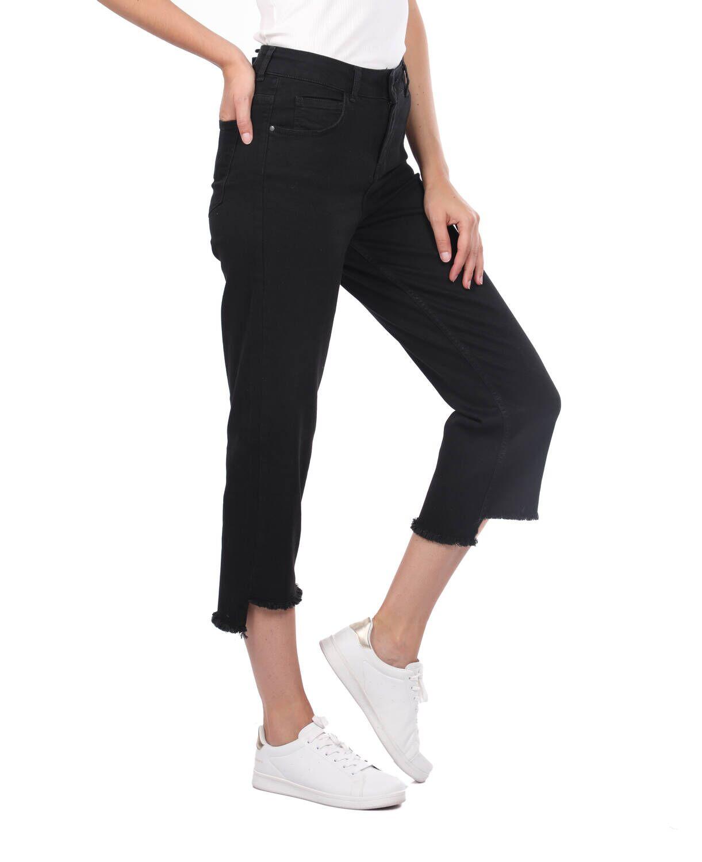 Blue White Kadın Kesik Paça Siyah Jean Pantolon