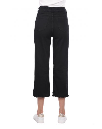 Blue White Kadın Kesik Paça Siyah Jean Pantolon - Thumbnail