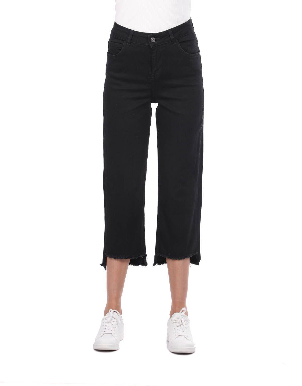 Blue White Kadın Kesik Paça Siyah Kot Pantolon