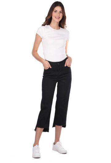 Blue White Kadın Kesik Paça Siyah Kot Pantolon - Thumbnail