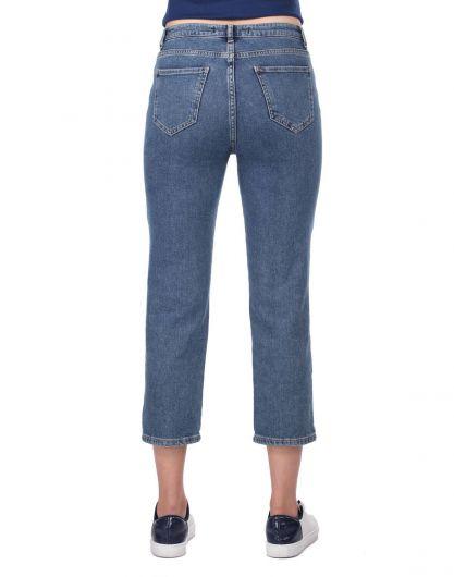 Blue White Kadın Şerit Detayı Jean Pantolon - Thumbnail