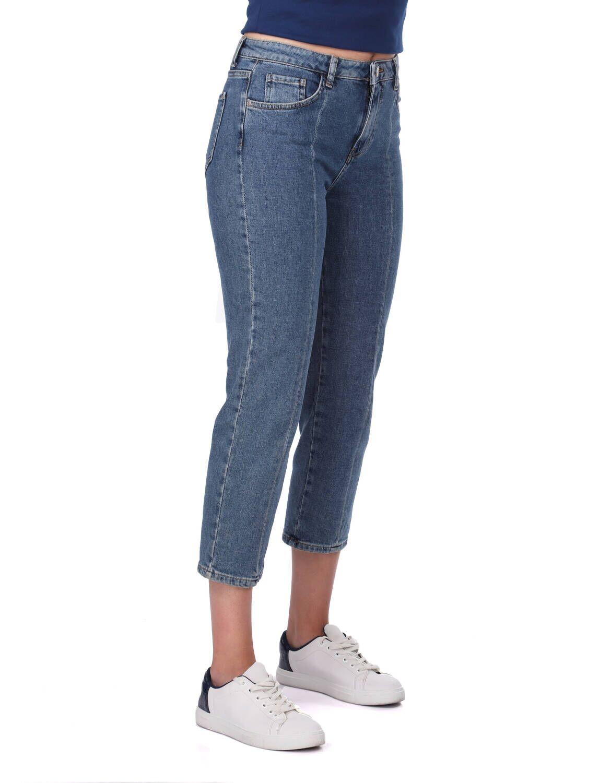 Blue White Kadın Şerit Detayı Kot Pantolon